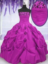 Gorgeous Fuchsia Ball Gowns Taffeta Strapless Sleeveless Embroidery and Pick Ups Floor Length Lace Up Quinceanera Gowns