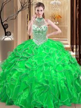 Sumptuous Halter Top Ball Gowns Beading and Ruffles Quinceanera Gowns Lace Up Organza Sleeveless Floor Length