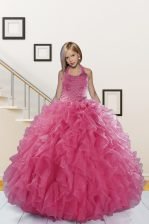 Best Floor Length Pink Child Pageant Dress Halter Top Sleeveless Lace Up