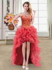 Coral Red Organza Lace Up Sweetheart Sleeveless High Low Homecoming Dress Beading and Ruffles