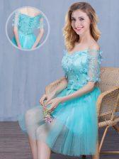 Vintage Aqua Blue Off The Shoulder Lace Up Lace and Appliques and Bowknot Vestidos de Damas Short Sleeves
