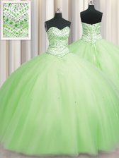 Suitable Bling-bling Big Puffy Yellow Green Ball Gowns Tulle Sweetheart Sleeveless Beading Floor Length Lace Up Quince Ball Gowns