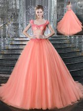 Shining Straps Tulle Sleeveless With Train Quinceanera Gowns Brush Train and Beading