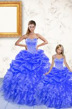 Pretty Royal Blue Spaghetti Straps Lace Up Beading and Ruffles and Pick Ups Quinceanera Gown Sleeveless