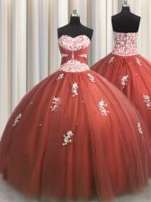 Noble Rust Red Sleeveless Beading and Appliques Floor Length Quince Ball Gowns