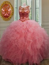 Clearance Scoop Sleeveless Tulle Quinceanera Gown Beading and Ruffles Lace Up