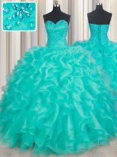New Style Sweetheart Sleeveless Organza 15th Birthday Dress Beading and Ruffles Lace Up
