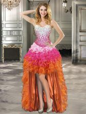 New Arrival Multi-color Ball Gowns Beading and Ruffles Prom Gown Lace Up Organza Sleeveless High Low