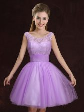 Lilac Lace Up Scoop Lace and Ruching Quinceanera Dama Dress Tulle Sleeveless