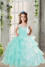 Amazing Sleeveless Floor Length Lace and Ruffled Layers Lace Up Kids Pageant Dress with Light Blue