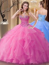 Sleeveless Lace Up Floor Length Beading 15th Birthday Dress