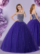 Popular Purple 15 Quinceanera Dress Military Ball and Sweet 16 and Quinceanera with Beading Strapless Sleeveless Lace Up