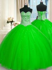 Customized Sleeveless Floor Length Beading and Sequins Lace Up Sweet 16 Dress with