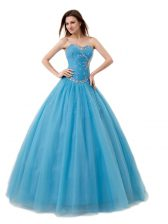 Top Selling Baby Blue Sleeveless Floor Length Beading and Ruching Lace Up Sweet 16 Dress
