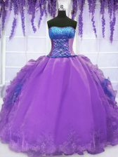 Sexy Purple Sleeveless Organza Lace Up 15 Quinceanera Dress for Military Ball and Sweet 16 and Quinceanera