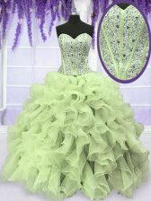 Deluxe Yellow Green Sleeveless Organza Lace Up Vestidos de Quinceanera for Military Ball and Sweet 16 and Quinceanera