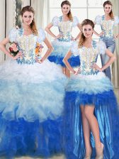 Four Piece Floor Length Multi-color Quinceanera Dresses Sweetheart Sleeveless Lace Up