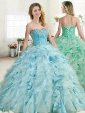 Most Popular Baby Blue Ball Gowns Organza and Taffeta Sweetheart Sleeveless Beading and Ruffles Floor Length Lace Up Quinceanera Dress