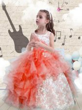 Trendy Scoop Floor Length Lace Up Child Pageant Dress Watermelon Red for Party and Wedding Party with Beading and Ruffles