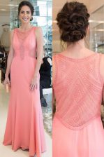 Scoop Floor Length Mermaid Sleeveless Watermelon Red Prom Dress Zipper