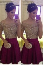 Chiffon Off The Shoulder Sleeveless Zipper Beading Prom Evening Gown in Burgundy