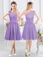 Eye-catching One Shoulder Lavender Sleeveless Chiffon Side Zipper Quinceanera Dama Dress for Prom and Party and Wedding Party