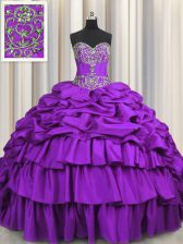 Purple Quinceanera Gowns Taffeta Brush Train Sleeveless Beading and Embroidery and Ruffled Layers and Pick Ups
