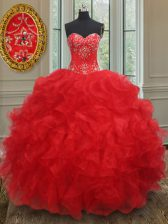 Red Ball Gowns Beading and Ruffles Quinceanera Dresses Lace Up Organza Sleeveless Floor Length
