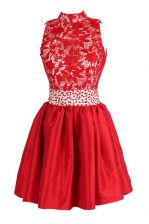 Satin V-neck Sleeveless Criss Cross Beading and Lace Prom Dress in Red
