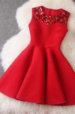 Scoop Beading Prom Gown Red Zipper Sleeveless Knee Length