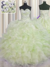 Yellow Green Sleeveless Organza Lace Up Quinceanera Dresses for Military Ball and Sweet 16 and Quinceanera