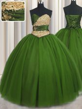 Perfect Ball Gowns 15th Birthday Dress Green Sweetheart Tulle Sleeveless Floor Length Lace Up