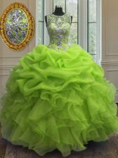 Sophisticated Scoop Floor Length Lace Up 15 Quinceanera Dress for Military Ball and Sweet 16 and Quinceanera with Beading and Ruffles and Pick Ups