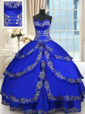 Royal Blue Taffeta Lace Up Sweetheart Sleeveless Floor Length 15th Birthday Dress Beading and Embroidery and Ruffled Layers