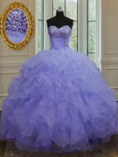 Custom Designed Beading and Ruffles Quinceanera Dress Lavender Lace Up Sleeveless Floor Length