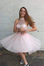 Baby Pink Organza Criss Cross High-neck Sleeveless Knee Length Prom Dresses Beading