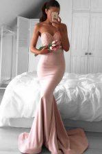 Mermaid Pink Zipper Sweetheart Lace Prom Party Dress Elastic Woven Satin Sleeveless Sweep Train