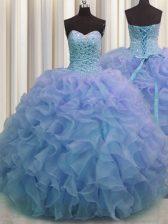 Stylish Sweetheart Sleeveless Sweet 16 Quinceanera Dress Floor Length Beading and Ruffles Blue Organza