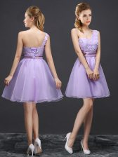 Low Price One Shoulder Sleeveless Lace Up Mini Length Lace Quinceanera Court Dresses