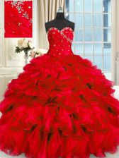 Red Ball Gowns Sweetheart Sleeveless Organza Floor Length Lace Up Beading and Ruffles Quinceanera Gowns