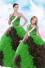 Sweetheart Sleeveless Vestidos de Quinceanera Floor Length Sequins and Pick Ups Multi-color Taffeta