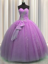 Sleeveless Lace Up Floor Length Beading and Sequins and Bowknot Quinceanera Dress