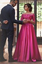 Fuchsia Prom Evening Gown Prom with Appliques Off The Shoulder Long Sleeves Sweep Train Zipper