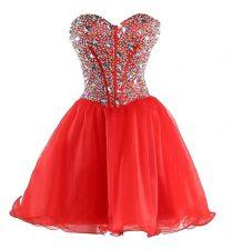 Trendy Sleeveless Beading Lace Up Evening Dress