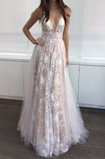 Amazing A-line Dress for Prom White and Champagne V-neck Tulle Sleeveless Floor Length Zipper