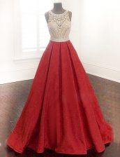 Great Scoop Beading Prom Dresses Red Zipper Sleeveless Floor Length