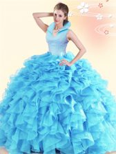 Luxury Aqua Blue Backless Quinceanera Gown Beading and Ruffles Sleeveless Floor Length