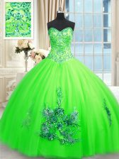 Floor Length Ball Gowns Sleeveless Quinceanera Gown Lace Up