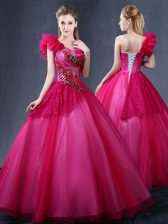 Sexy One Shoulder Floor Length Ball Gowns Sleeveless Fuchsia Quinceanera Dresses Lace Up