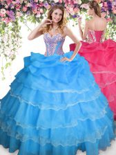 Smart Baby Blue Sleeveless Floor Length Beading and Ruffled Layers and Pick Ups Lace Up Quince Ball Gowns